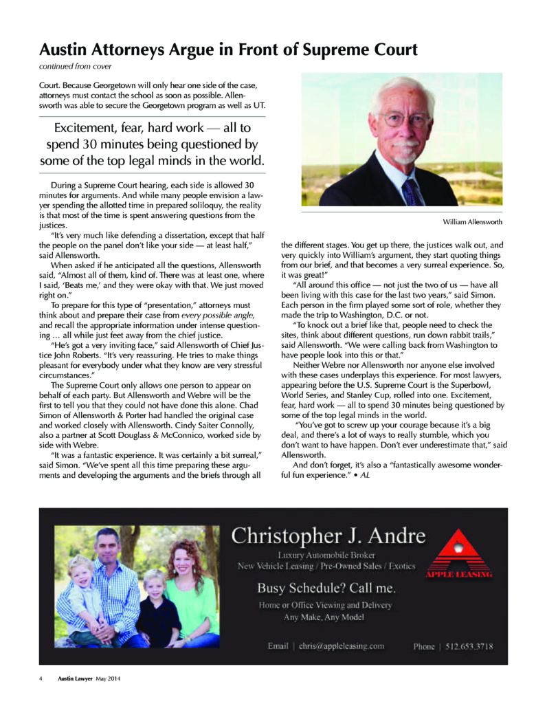 William Allensworth Featured in Austin Lawyer, Page 2